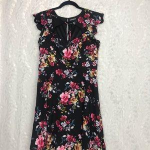 Express black floral dress flutter sleeves size 12